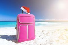 Santa hat on baggage, Christmas vacation Kuvituskuvat