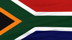 National flag of South Africa flying on the wind Stock Footage