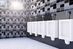 Public men's toilet room interior with white urinals row on tiles wall and floor Stock Illustration