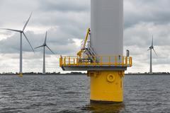 Foundation Dutch wind turbine in the sea Kuvituskuvat