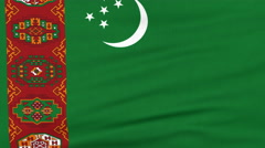 National flag of Turkmenistan flying on the wind Stock Footage