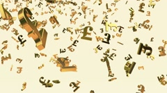 Falling British Pound sign in gold color on white Stock Footage