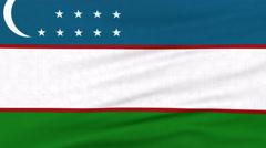 National flag of Uzbekistan flying on the wind Stock Footage