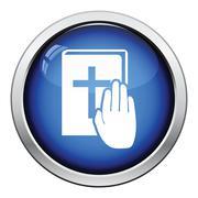 Hand on Bible icon Stock Illustration
