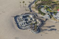 Venice Beach Skateboard Park Aerial in Los Angeles Stock Photos