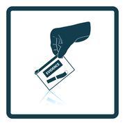 Hand holding evidence pocket icon Stock Illustration