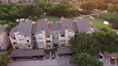 Fly Low Right Over Apartment Complex Stock Footage