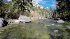 Clear Water Rocky Mountain Stream Forest and Mountains in Wyoming Stock Footage