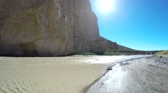 Rio Grande River in Desert and Sun Flare and Blue Sky Stock Footage