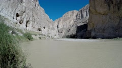 Rio Grande River Flowing Through Steep Desert Canyon Big Bend National Park Stock Footage