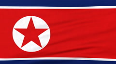 National flag of North Korea flying on the wind Stock Footage