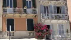 4K Greek architecture in old town Corfu traditional facade building residential Stock Footage
