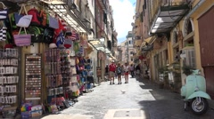 4K Amazing shopping road in downtown old town of Corfu Island Greek attraction  Stock Footage