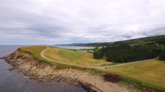 Aerial shot of a field and rocky ocean coast - stock footage