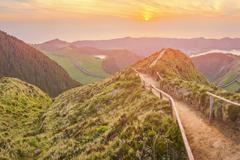 Mountain landscape Ponta Delgada, Azores, Portugal Stock Photos