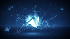 Glowing futuristic polygonal network 3D shape. Loop 4k UHD (3840x2160) Stock Footage