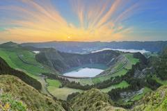 Mountain landscape Ponta Delgada, Azores, Portugal - stock photo