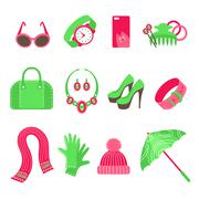 Feminine accessories icons set Stock Illustration