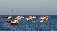 Boats in the ocean en Tamariu (small village in Costa Brava, Catalonia,Spain) - stock footage