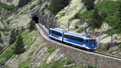 Cogwheel railway in the valley of Nuria Catalan Pyrenees Stock Footage