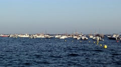 Boats in the ocean en Tamariu (small village in Costa Brava, Catalonia,Spain) Stock Footage