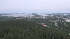 Panoramic view to the city downhill from the Puio tower observation point Stock Footage