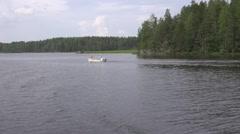 Saimaa lake cliffy and woody shoreline close to Savonlinna Stock Footage