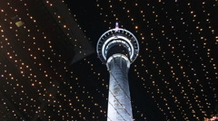 Auckland Sky Tower at night Stock Footage