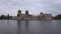 Savonlinna Castle as seen from the Lake Saimaa Stock Footage