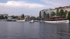 Steamship Punkaharju departs from harbor giving 3 whistles Stock Footage