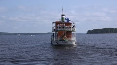 Passenger steamship Koski heading to the lake open waters for a leisure trip Stock Footage