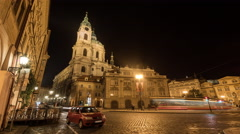 Night Prague with tower and moving car lights Stock Footage