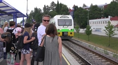 Local train from Parikkala arrives to station Stock Footage