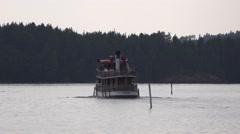 Passenger steamship Punkaharju heading into Lake Saimaa Stock Footage