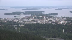 Panoramic view to the city from the Puijo tower observation point Stock Footage