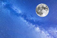 Milky Way and the full Moon - stock photo