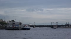 The Palace Bridge and the Spit of Vasilievsky Island as seen from the Neva River Stock Footage