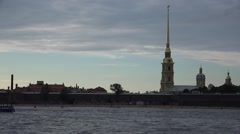 Pleasure boats on the Neva River passing the Peter and Paul's Fortress Stock Footage