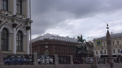 Approaching the St. Isaac's square with monument to tsar Nicholas I by boat Stock Footage