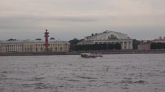 Spit of the Vasilievsky Island seen from a pleasure boat on the Neva River Stock Footage