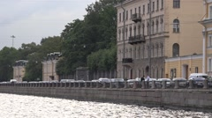 Travelling along the Fontanka River by pleasure boat Stock Footage