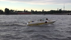 Motorboat making a private Neva River trip Stock Footage