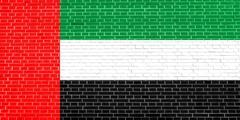 Flag of the United Arab Emirates on brick wall texture background. UAE nation Stock Illustration