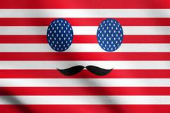 Image in colors of the American flag with mustaches. Detailed fabric texture. Stock Illustration