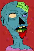 Creepy grey illustrated colorful zombie in cartoon style Stock Illustration