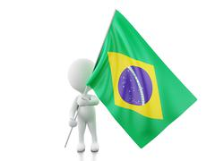 3d White people with a Brazil flag. Stock Illustration