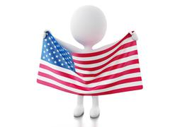 3d White people with USA flag. Stock Illustration