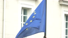 Wind blowing on EU flag. Stock Footage