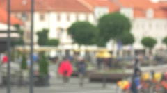 Blurred view of street. People walking in the background. Close to city bustle.  Stock Footage