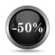 50 percent discount icon. Internet button on white background. . Stock Illustration
